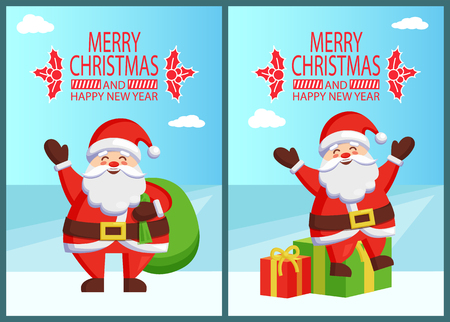 Merry Christmas and Happy New Year posters with Santa Claus on gift boxes and with bag on back vector illustration smiling Xmas symbol postcards design