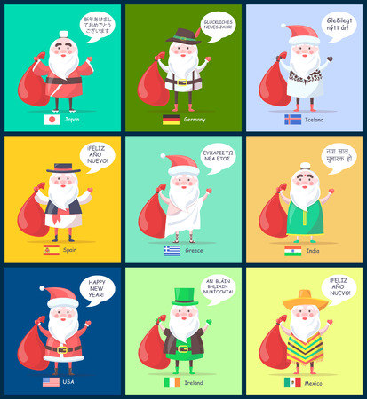 Iceland and Spain, Santa Clauses collection with translated happy New Year greeting, men in costumes and icons of flags, vector illustration Illustration