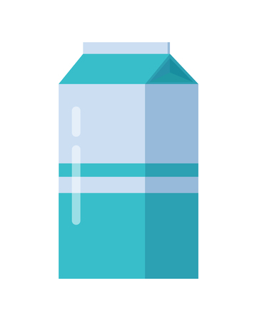 Milk blue carton package. Carton of dairy. Milk box. Farm food. Milk icon. Retail store element. Simple drawing in flat style. Isolated vector illustration on white background. Illustration