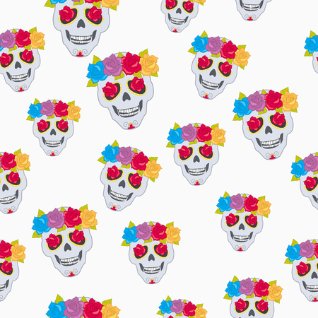 Human Skull and Flower Wreath Pattern.