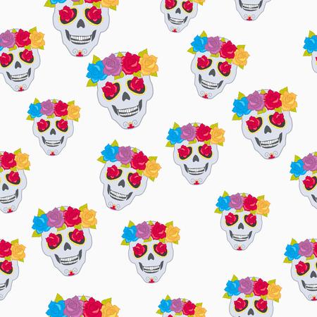 Modèle de crâne humain et guirlande de fleurs.