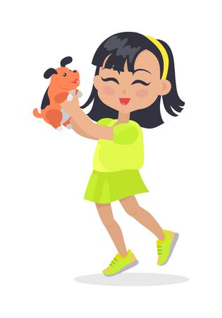 Tiny Girl with Black Bob Haircut and Dog Pet. 向量圖像