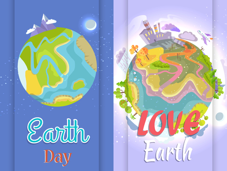 International Save Earth Day Agitation Posters Set illustration.