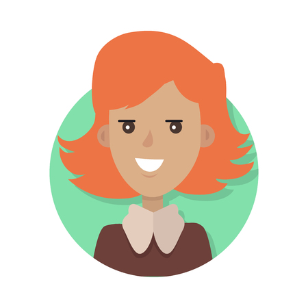 Woman Face Emotive Icon in Flat Style. Illustration