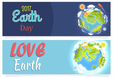International Save Earth Day Agitation Posters Set. 일러스트