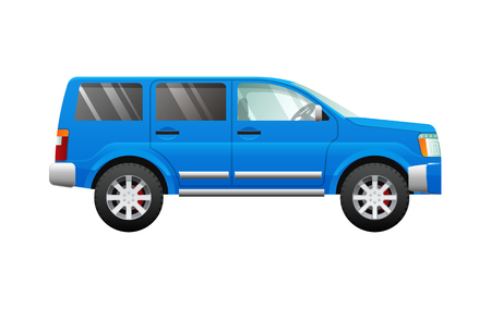 Blue Sport Utility Car in Simple Cartoon Style.