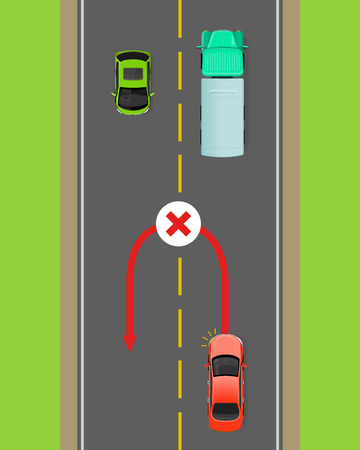Banned Car U-Turn Flat Diagram.