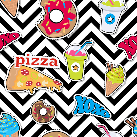 Pizza, Doughnut, Cocktail, Smoothie, Ice Cream pattern. Illustration