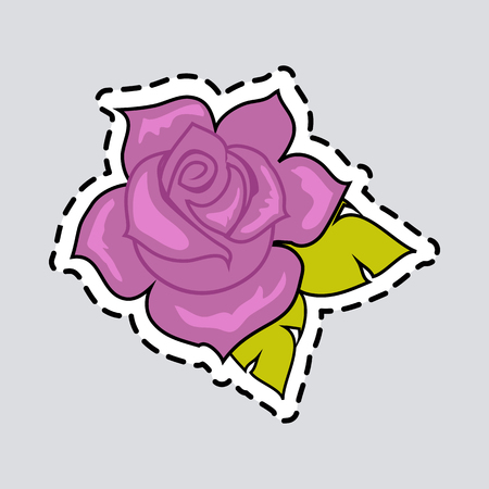 Violet rose with green leaves. Cut it out. Patch. Illustration of isolated big purple blossom in cartoon style. Fashion. Decoration. Accessory. Ornament. Floral embellishment. Flat design. Vector Banco de Imagens - 92284986