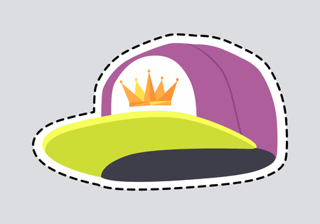 Male colourful rap cap patch. Cut out head accessory with dashed line. Stylish violet hat with greenish peak. Icon of golden crown on white cloth. Cartoon style. Flat design. Vector illustration