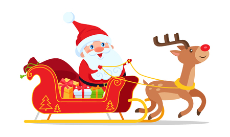 Santa Riding in Sleigh with Reindeer Animal illustration.
