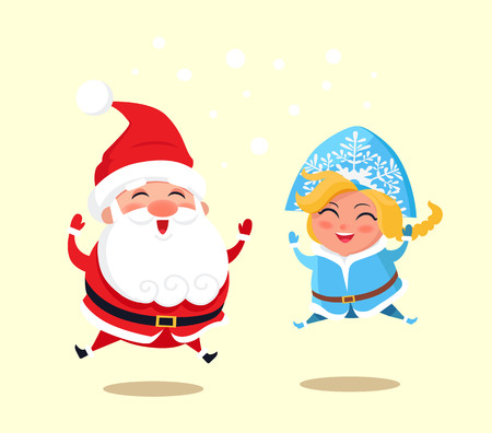 Snow Maiden and Santa Claus wearing costumes of traditional pattern, jumping because of happiness, vector illustration isolated on yellow background