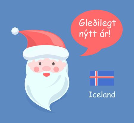 Iceland Santa Claus poster with translated happy New Year phrase and old man with hat and beard, icon of Icelandic flag, vector illustration