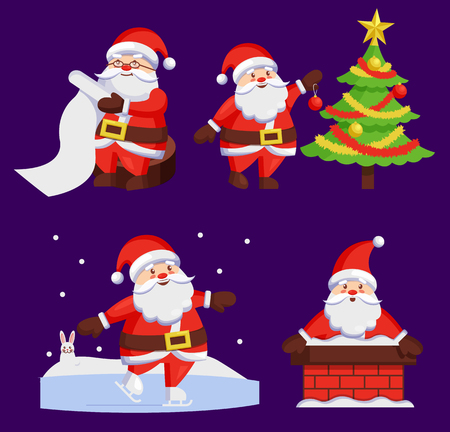 Santa Clauses set of icons. Saint Nicholas with wish list, Santy decorates tree, Father Christmas in chimney made of bricks, playing outdoors vector set Illustration