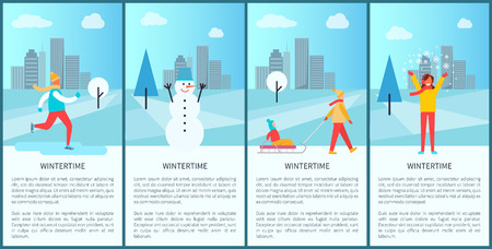 Wintertime City Set of Posters Illustration.
