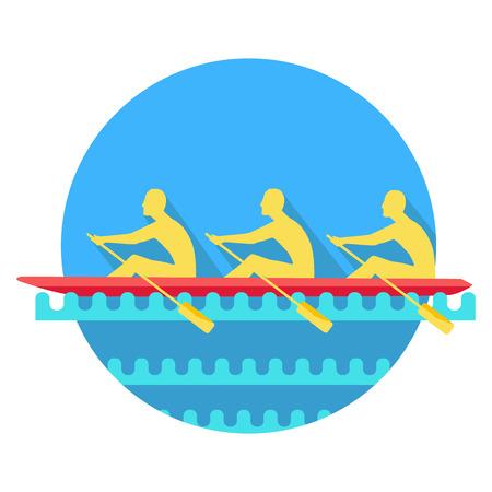 Sports Rowing on Canoe Flat Style Icon. Illustration