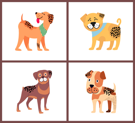 Adorable tiny Puppies with Happy Excited Faces. Illustration