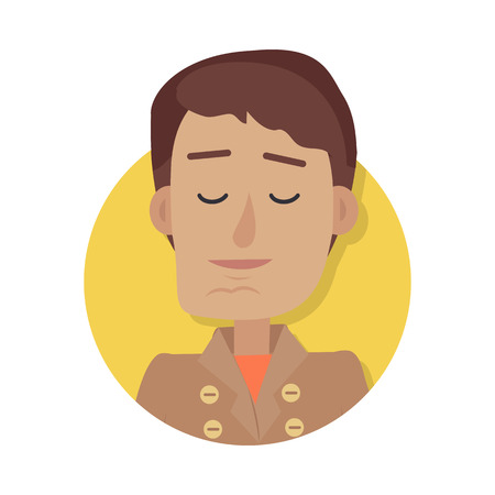 Man Face Emotive Icon in Flat Style.