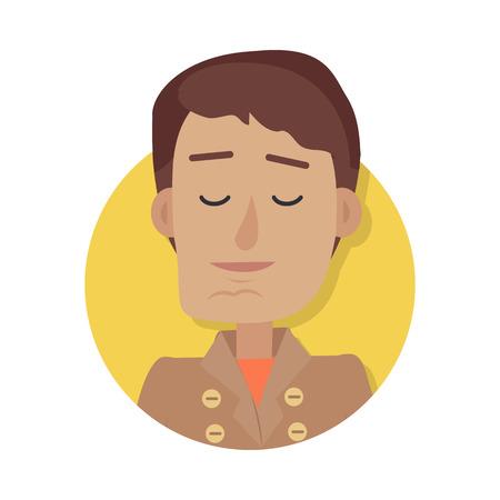 Man gezicht emotionele pictogram in vlakke stijl.