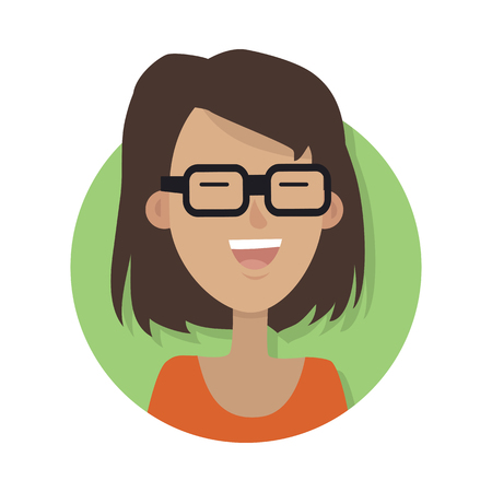 Woman Face Emotive Icon in Flat Style. Vectores