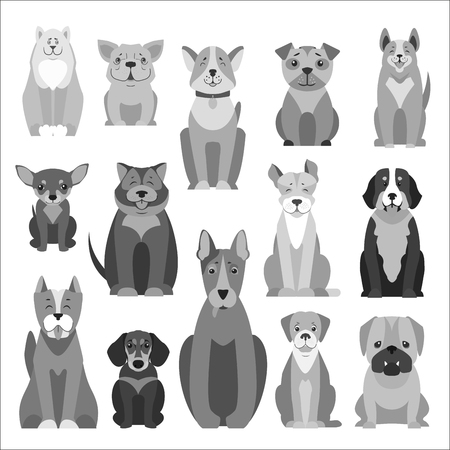 Cute Purebred Dogs Cartoon Flat Icons Set. 向量圖像