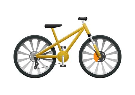 孤立した黄色モダンスポーツ自転車ベクトルイラスト