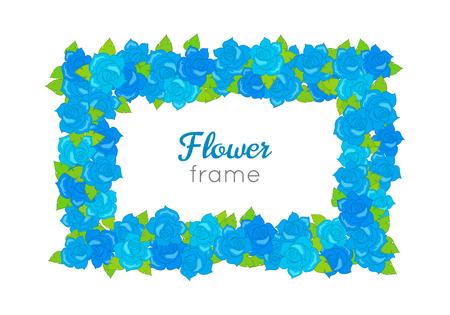 Flower Frame vector illustration. Rectangular Wreath with Blossoms Illustration
