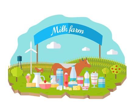Milk Farm Concept Banner Vector Flat Design. Çizim