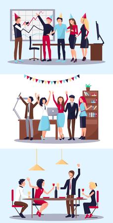 Set of People Celebrating Vector Illustration