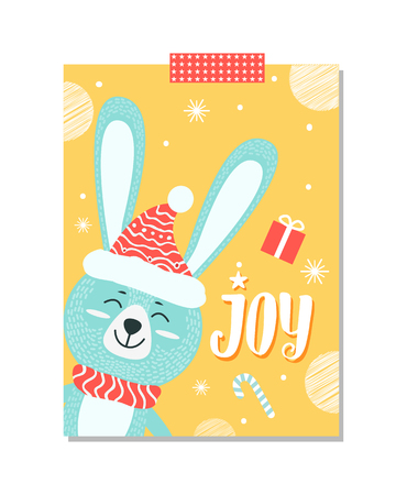 Joy poster, icon of smiling rabbit with hat on its head and scarf on its neck, images of snowflakes, candy and present, on poster vector illustration