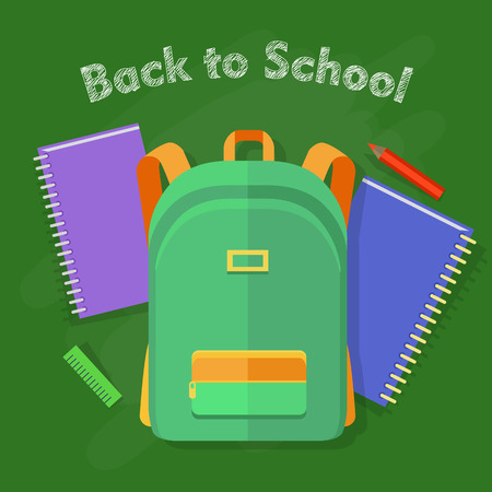 Back to school. Green backpack with orange lines and one pocket. School objects behind. Green ruler, red pencil, violet and blue notebooks. Illustration in cartoon style. Flat design. Vector
