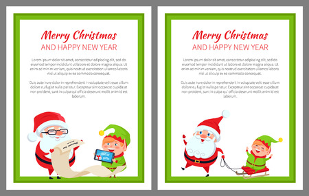 Merry Christmas happy New Year bright poster with Santa Claus and Elf on sledge, vector illustration with fairy tale characters in green square frame Illustration