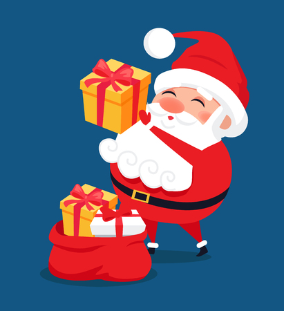 Merry Santa Claus put presents into red bag, Father Christmas get ready to winter holidays, vector illustration postcard isolated on blue background