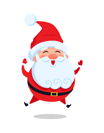 Happy jumping Santa Claus vector illustration isolated on white background. Father Christmas leaps in air greeting everyone and smiling from joy Stock Illustratie