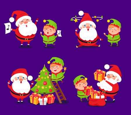 Santa Claus and elf sets, adventures of winter characters, singing songs and decorating Christmas tree, collection presents vector illustration Illustration