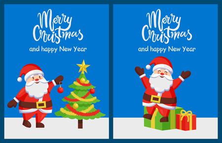 Merry Christmas and Happy New Year with Santa and Christmas tree posters.