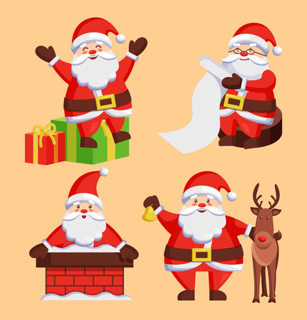 Santa Clauses set of icons.