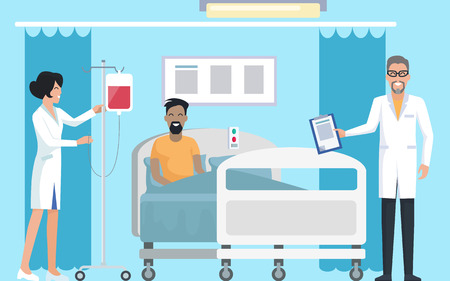 Patient in hospital room with doctor monitoring his health and nurse caring for him, curtains and comfortable bed on vector illustration