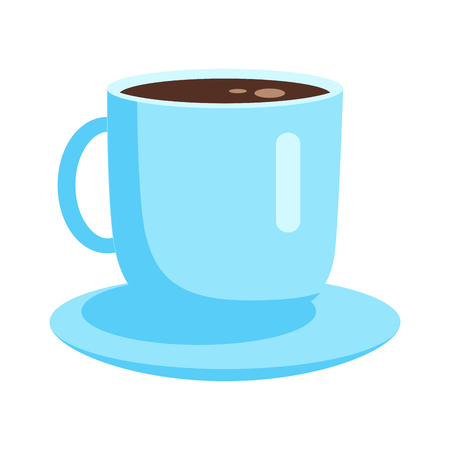 Cup with coffee or tea on saucer vector icon isolated on white background. Break with invigorating drink. Porcelain mug with espresso illustration for applications web design Ilustração