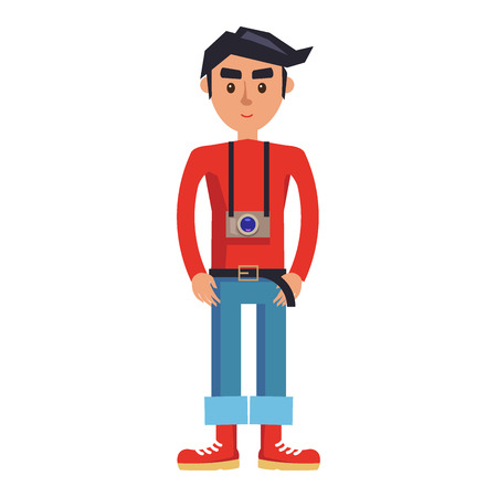 Young man with camera cartoon character. Brunette male in red jumper, rolled up jeans and boots with camera on neck isolated flat vector. Smiling hipster tourist standing straight illustration