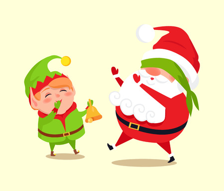 Santa and elf cartoon characters playing hide-and-seek, little helper call Father Christmas by golden bell, vector illustration poster isolated on white