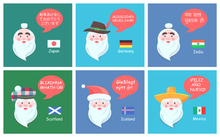 International congratulations with New Year from authentic Santa Clauses in foreign languages festive posters cartoon vector illustrations set. 向量圖像