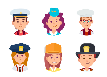 Three boys in image of sailor, chief food and firefighter. Trio girls in similitude of stewardess, policeman and builder vector illustration