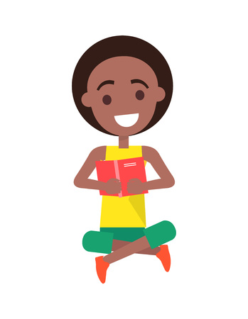 Smiling afro american boy dressed in yellow sleeveless t-shirt and green shorts holding pink hard back book with both hands isolated vector illustration