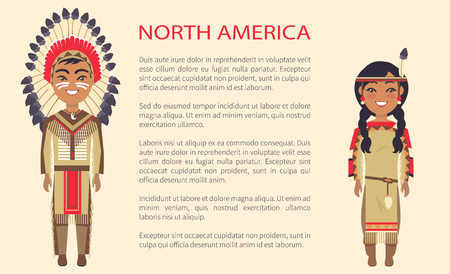 North america traditional costumes in which man and woman are dressed, vector international day poster ethnic people with text, native indians Illustration