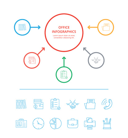 Office infographics with text sample placed below title in circle, icons connected to it with lines and arrows on vector illustration