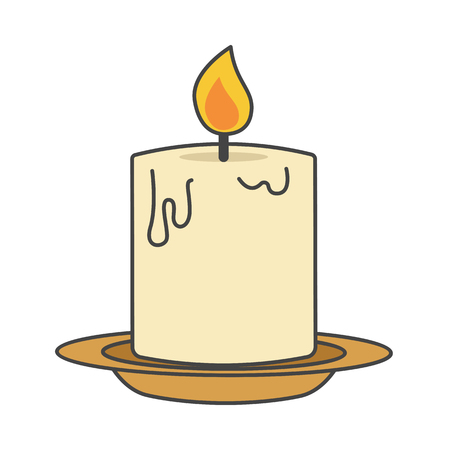 Burning candle on beige plate flat style close-up icon isolated on white.
