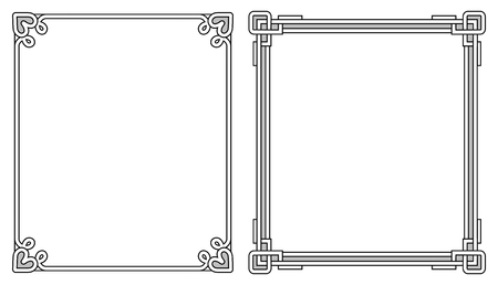 Two photoframes with decor elements at each corner on top and on bottom, empty inside vector illustration isolated on white background, colorless border