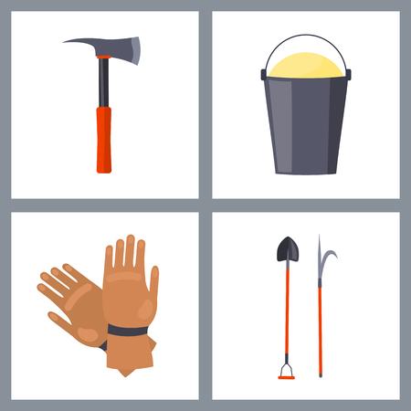 Verzameling van geïsoleerde vuur gerelateerde items vector illustratie beeltenis bijl met metalen grip, emmer met zand, bruine handschoenen, schop en haak.