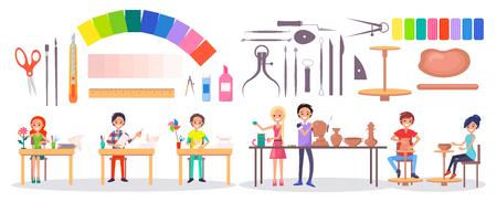 Reeks kantoorbehoeftenpunten, diverse instrumenten, kunstlevering en kunstacademiestudenten isoleerden vectorillustratie op wit. Jonge kunstenaars en hun hobby's.
